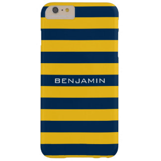 Navy Blue and Yellow Rugby Stripes Custom Name Barely There iPhone 6 Plus Case