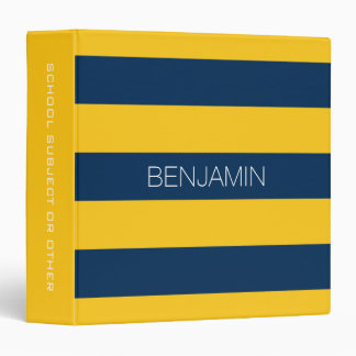 Navy Blue and Yellow Rugby Stripes Custom Name Binder