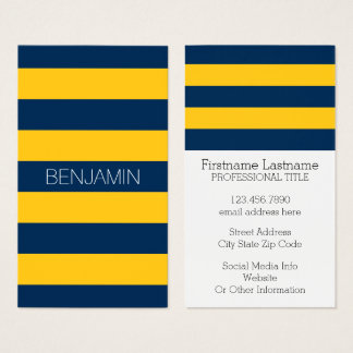 Navy Blue and Yellow Rugby Stripes Custom Name Business Card