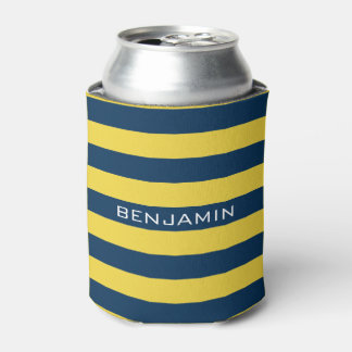 Navy Blue and Yellow Rugby Stripes Custom Name Can Cooler