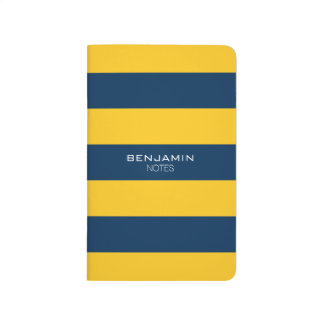 Navy Blue and Yellow Rugby Stripes Custom Name Journal