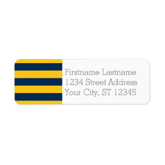 Navy Blue and Yellow Rugby Stripes Custom Name Label