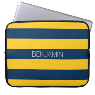 Navy Blue and Yellow Rugby Stripes Custom Name Laptop Computer Sleeves