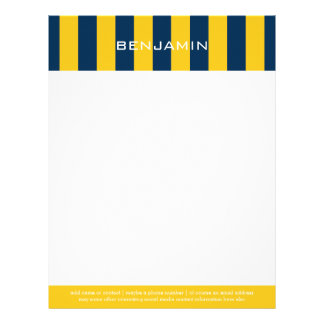 Navy Blue and Yellow Rugby Stripes Custom Name Letterhead