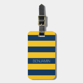 Navy Blue and Yellow Rugby Stripes Custom Name Luggage Tag