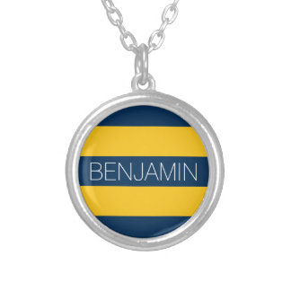 Navy Blue and Yellow Rugby Stripes Custom Name Necklaces