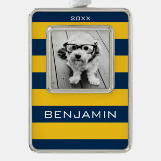 Navy Blue and Yellow Rugby Stripes Custom Name Ornament