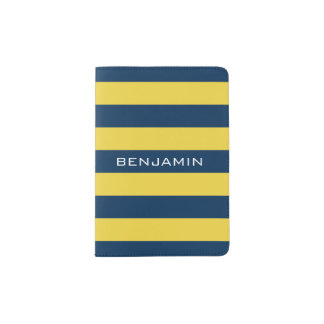 Navy Blue and Yellow Rugby Stripes Custom Name Passport Holder