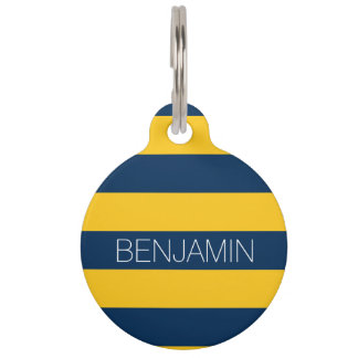 Navy Blue and Yellow Rugby Stripes Custom Name Pet ID Tag