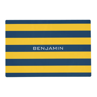 Navy Blue and Yellow Rugby Stripes Custom Name Placemat