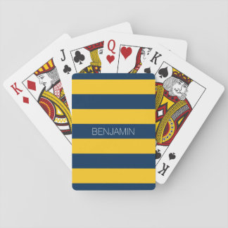 Navy Blue and Yellow Rugby Stripes Custom Name Playing Cards