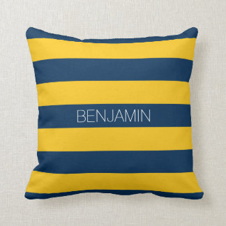 Navy Blue and Yellow Rugby Stripes Custom Name Throw Pillow