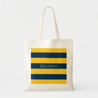 Navy Blue and Yellow Rugby Stripes Custom Name Tote Bag