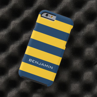 Navy Blue and Yellow Rugby Stripes Custom Name Tough iPhone 6 Case