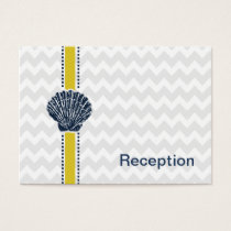 Navy Blue and Yellow Seashell Wedding Stationery Business Card