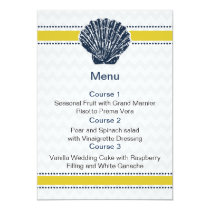 Navy Blue and Yellow Seashell Wedding Stationery Card