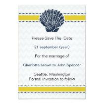 Navy Blue and Yellow Seashell Wedding Stationery Card