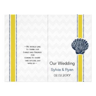 Navy Blue and Yellow Seashell Wedding Stationery Flyer