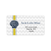 Navy Blue and Yellow Seashell Wedding Stationery Label