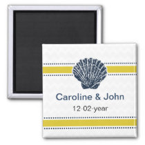 Navy Blue and Yellow Seashell Wedding Stationery Magnet