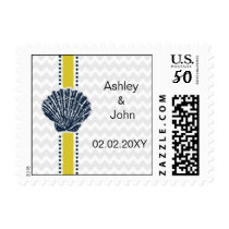 Navy Blue and Yellow Seashell Wedding Stationery Postage