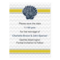 Navy Blue and Yellow Seashell Wedding Stationery Postcard