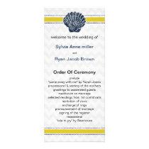 Navy Blue and Yellow Seashell Wedding Stationery Rack Card