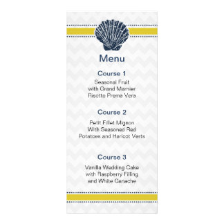 Navy Blue and Yellow Seashell Wedding Stationery Rack Card