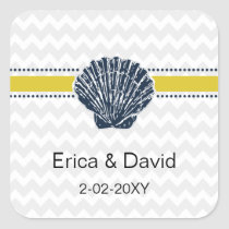 Navy Blue and Yellow Seashell Wedding Stationery Square Sticker