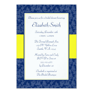 Navy Blue and Yellow Swirl Damask Bridal Shower Card