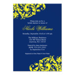 Navy Blue and Yellow Swirl Flourish Bridal Shower 5x7 Paper Invitation Card