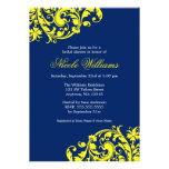 Navy Blue and Yellow Swirl Flourish Bridal Shower Invite