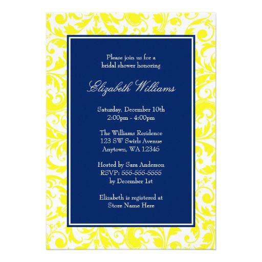 Navy Blue And Yellow Swirls Damask Bridal Shower