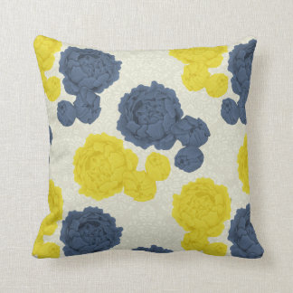 Navy Blue and Yellow Vintage Floral Throw Cushion