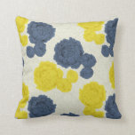 Navy Blue and Yellow Vintage Floral Throw Cushion Pillow