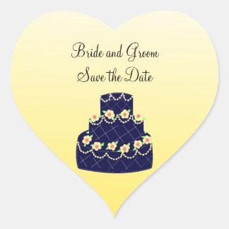 Navy Blue and Yellow Wedding Cake Heart Sticker