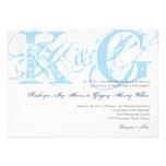 Navy blue antique grunge monogram wedding invite