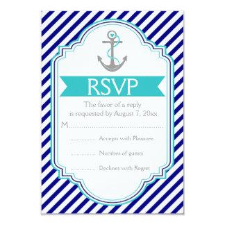 Navy blue, aqua anchor nautical wedding RSVP Card