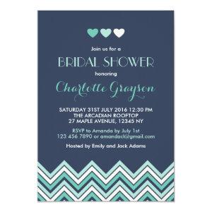 Navy Blue Aqua Chevron Bridal Shower Invitation 5