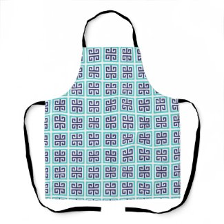 Navy Blue Aqua Greek Pattern Apron