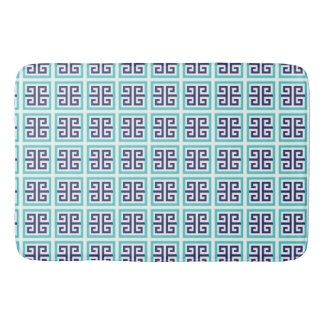 Navy Blue Aqua Greek Pattern Bath Mat