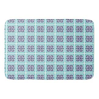 Navy Blue Aqua Greek Pattern Bath Mat