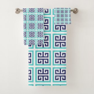 Navy Blue Aqua Greek Pattern Bath Towel Set