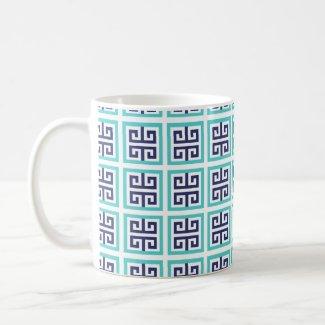 Navy Blue Aqua Greek Pattern Coffee Mug