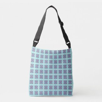 Navy Blue Aqua Greek Pattern Crossbody Bag