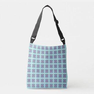 Navy Blue Aqua Greek Pattern Crossbody Bag