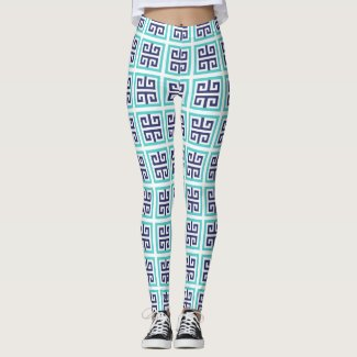 Navy Blue Aqua Greek Pattern Leggings