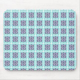 Navy Blue Aqua Greek Pattern Mouse Pad