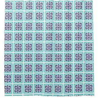 Navy Blue Aqua Greek Pattern Shower Curtain