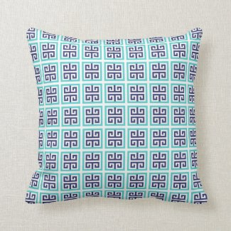 Navy Blue Aqua Greek Pattern Throw Pillow